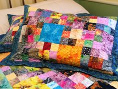 Quilted Pillow Sham in Batik Squares, Two Colorful Standard Pillow Shams, Batik Pillow Cover by DarBieStitches on Etsy
