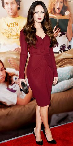 Fox smoldered in a burgundy Roland Mouret sheath at the L.A. premiere of This is 40. Jennifer Meyer jewels, a woven Bottega Veneta clutch and spiked Louboutins completed the look.