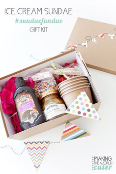"""Ice Cream Sundae Gift Want to spread a little joy to friends or family? Make one of these fun and easy to put together ice cream sundae gift box. They just need ice cream! Teacher Appreciation, """"HeDIY ice cream kit with Fun Christmas Gifts fo Diy Food Gifts, Homemade Gifts, Homemade Food, Teacher Appreciation Gifts, Teacher Gifts, Diy Ice Cream, Cream Cream, Diy Gift Baskets, Tea Gifts"""