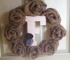 Burlap & Felt Rosette Wreaths by LilyputArtCraft on Etsy, $30.00