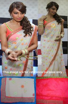 Bollywood Style Bipasha Basu Chiffon Saree in Cream color Bollywood Sarees Online, Bollywood Designer Sarees, Indian Bollywood, Bollywood Fashion, Indian Sarees, Bollywood Style, Bollywood Actress, Pakistani Outfits, Indian Outfits