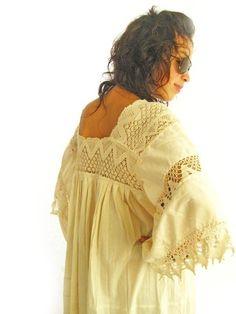 Romantic Mexican Natural Maxi Dress Vintage Excellent Condition Hippie Fairy chic Bohemian wedding dress. $280.00, via Etsy.
