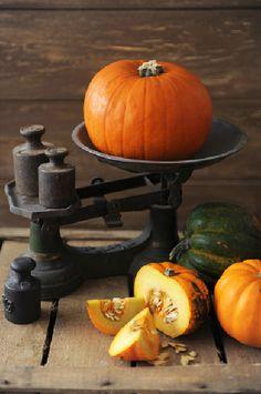 Beautiful pumpkin on antique scale<3