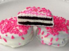 Pink Oreos - 1 Dozen (12) Valentines Day Baby Shower Girls Birthday Party Favors Chocolate Cookies Candy White Milk Chocolate.