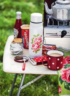camping table with the right sort of stuff on it...tunnocks