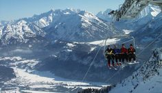 The lift facilities Reuttener Seilbahnen take you up to the small skiing area at the Höfener Alm mountain pasture. Tirol Austria, Paddle Boarding, Alps, Surfboard, Winter, Mount Everest, Skiing, Mountains, Travel