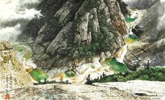 (North Korea) Eight Ponds in Mt Geumgang by Kim Hyeon (1952-   ). 김현.