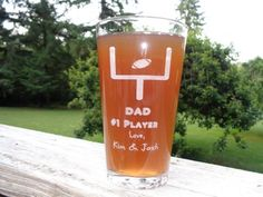 Father's Day Football Pint Glass, Thank You Dad Gift, Grandpa Gift