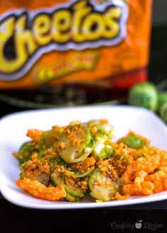Cheetos Coated Brussels Sprouts Recipe from Cooking Divine: The most delicious way to cook (and eat) Brussels Sprouts!