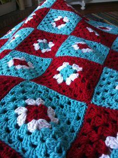 red and aqua granny blanket
