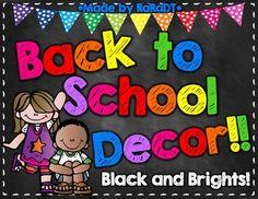 Classroom Decor {Black and Brights Chalkboard Theme}
