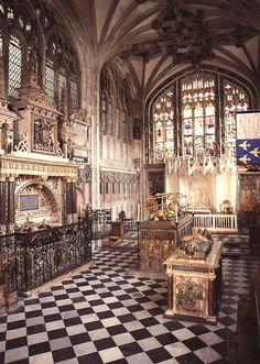 The interior of Beauchamp Chapel at St. Mary's Church, Warwick. Robert Dudley and his second wife, Lettice Knollys, are buried on the left, and his brother, Ambrose Dudley, is buried in the foreground on the right.
