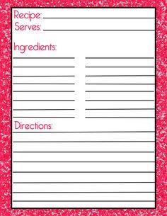 printable recipe pages のおすすめ画像 28 件 pinterest 料理本の