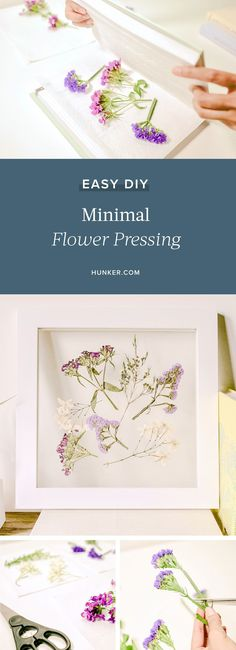 Flower pressing has been around for a long time. Now you can put your own, modern spin on it with this simple DIY. Create your own wall art or even a minimalist focal piece for a side table, dresser, or shelf. #hunker #flowerdiy #diyart #diyprojects Traditional Books, Floating Frame, Diy Flowers, Diy Art, Create Your Own, Easy Diy, Minimalist, Bloom, Diy Projects