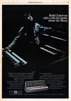 Keith Emerson with moog synthesizer Music Lessons, Guitar Lessons, Guitar Tips, Acoustic Guitar Pictures, Acoustic Guitars, Moog Synthesizer, Psychedelic Bands, Greg Lake, Emerson Lake & Palmer