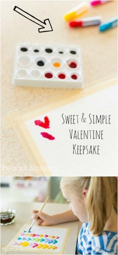 Sweet & Simple Valentine Keepsake | Peanut Blossom: A sentimental art project for kids to make with mom that is living room worthy!