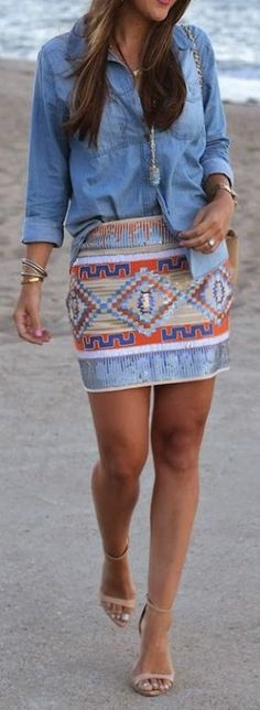 Outfit ideas. Chambray shirt. Aztec skirt. Aztec and Chambray Look Casual Fashion Style.