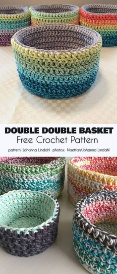 Double Double Basket Free Crochet Pattern These beautiful baskets for storing things or just for setting out to look pretty have stiff sides so that they remain upright. The double wall Crochet Bowl, Crochet Basket Pattern, Crochet Yarn, Crochet Baskets, Knit Basket, Crochet Basket Tutorial, Crochet House, Basket Bag, Crochet Slippers