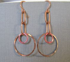 Copper Earrings Copper Jewelry Copper Rings Dangle by fiveforty, $20.00
