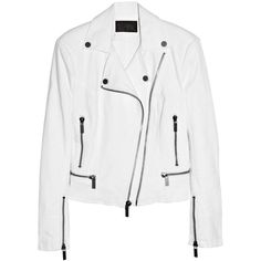 Karl Ordina stretch-cotton biker jacket ($285) ❤ liked on Polyvore