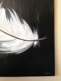 Large Acrylic Painting on Canvas Feathers 36x36 von IveyRoseArt