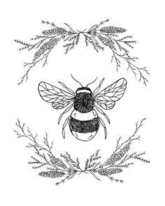 Lavender and honey print - image 0 - Kunst Tattoos, Bild Tattoos, Future Tattoos, New Tattoos, Tatoos, Embroidery Patterns, Hand Embroidery, Print Image, Bee Art