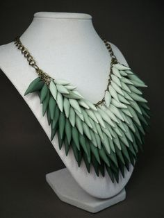 Ombre Emerald Green Polymer Clay Spike Statement Necklace. $175.00, via Etsy.