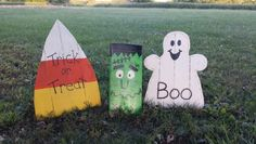 Pallet wood candy corn, frankenstein and ghost
