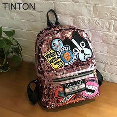 2018 new creative animal printing backpack pu leather blingbling shoulder bags large capacity ladies school bag sequins decor. Yesterday's price: US $30.75 (25.59 EUR). Today's price: US $26.90 (22.24 EUR). Discount: 90%.