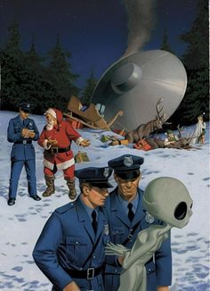 "danismm: ""latest ufo sightings: best wishes "" .when Santa gets t-boned by a drunk alien. Nobody believes the police report which, lets be honest, is their own fault at this point. Christmas Ad, Christmas Humor, Christmas Presents, Science Fiction, Illustrator, Psy Art, Sci Fi Tv, Sci Fy, Aliens And Ufos"