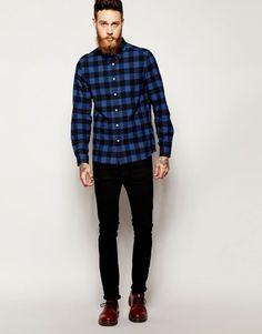usando camisa xadrez com calca look masculino