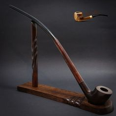 "TOBACCO SMOKING PIPE + STAND  Gandalf - Hobbit CHURCHWARDEN LONG 14""   Brown"