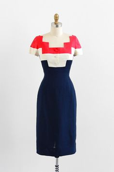 vintage 1960s dress / 60s dress / Red, White, and Blue Ultra Mod Wiggle Dress