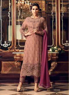 Fashionable Brown Party Wear Georgette Salwar Kameez After placed order you should submit Measurement Here Sexy Dresses, Vintage Dresses, Casual Dresses, Chiffon Dresses, Bridal Dresses, Ethnic Trends, Fashion Pants, Fashion Outfits, Ootd Fashion