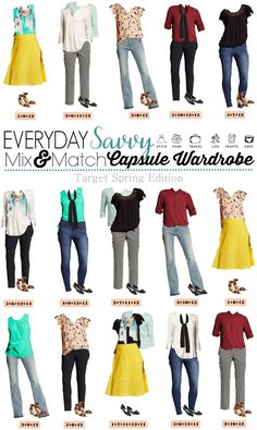 Fun Spring Target Capsule Wardrobe updated for 2016. Casual and cute mix and match outfits that are fun and frugal