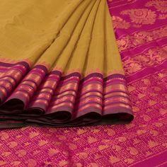 Ghanshyam Sarode Green Handwoven Gadwal Kuttu Cotton Saree 10007415 - AVISHYA