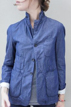 inspired on chinese workwear. love the style and the color. light indigo. very fashion-chic and casual.