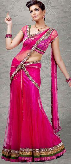 Dark #Pink Net #Lehenga Style #SareewithBlouse @ $715.02