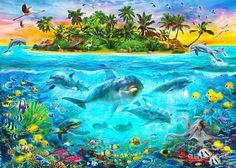 Dolphin Paradise Island Digital Art