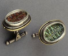 Polymer clay micromosaic cuff links by Cynthia Toops; metalwork by Chuck Domitrovich.