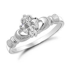 Claddagh Ring w/ diamond heart