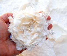 White Rustic Flower Hair Comb  Cottage Chic Wedding by odpaam, $21.90