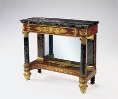 19th-Century American Decorative Arts: Unknown Maker, New York, New York Pier; Table, 1825 Mahogany, black ash, eastern white pine, yellow poplar, marble, glass, gilded gesso, gilded bronze, gilding 38 7/8 x 46 1/4 x 19 1/8 in. Museum Purchase
