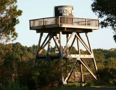 Historical water tower at the Brewery Gulch Inn in Mendocino, California