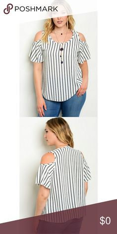 "PLUS SIZE IVORY NAVY W/ NECKLACE TOP Plus Size Round Neck, Cold Shoulder Ruffled Short Sleeve Top, With Necklace. Pairs beautifully with Jeans and heels.   Description: L: 28"" B: 44"" W: 44"" Fabric Content: 98% POLYESTER 2% SPANDEX Country: USA Tops Blouses"