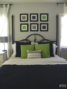 Green Master Bedroom Designs lime green and grey bedroom - too much white but like the general