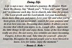 Exceptional Words To Live By Bonnie | Living Life Bonnie Mohr Living Life Eric Joyce.: