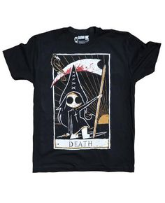 This short sleeve Akumu Ink crewneck features hand-drawn artwork of our Tokyo Chan character holding a scythe in our portrayal of the Death Tarot card. Our small coffin shaped logo is printed on the b Gothic Outfits, Edgy Outfits, Scene Outfits, Indie Tattoo, Gothic Tops, Skull Fashion, Emo Fashion, Gothic Fashion, Tattoo T Shirts