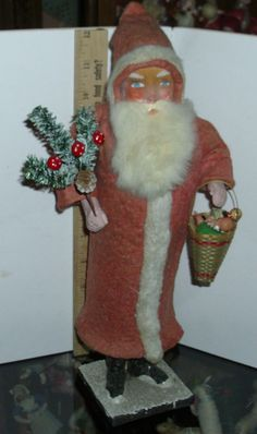 Antique Huge 13 in  German  Belsnickle Santa  early 1900s Candy Container