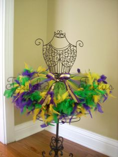 Mardi Gras Tutu with feathers by TouchdownTutus on Etsy, $24.00